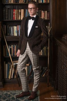 Model: Curtis in checkered trousers and a slim fit top to match. Brown bowtie, light bronze brown boots  www.scarzza.com