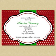 Christmas Red & Green Damask Bridal Shower Invitation. Not baby lol