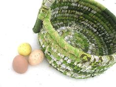 GREEN BEAN   textile art tote EASTER BaSKeT by thekeepershouse (Home & Living, Home Décor, Baskets & Bowls, fabric, storage, tote, home decor, recycled, basket, easter, spring, bucket, green, boy, white, olive)