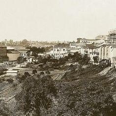 1908 - Vale do Anhangabaú visto do antigo Viaduto do Chá em direção à Rua de São João. No primeiro plano, o vale ainda ocupado pelas plantações de chá da chácara do Barão de Tatuí. Fonte: Agência Estado.