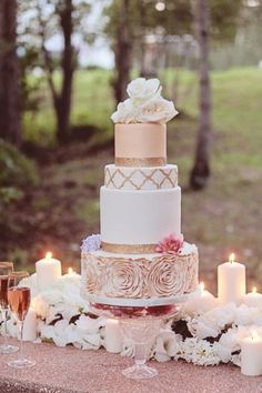 rose gold wedding cake ideas for you Mod Wedding, Trendy Wedding, Perfect Wedding, Dream Wedding, Wedding Day, Bling Wedding, Old Rose Wedding Motif, Elegant Wedding, Wedding Bride
