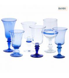 Juego de 6 copas de vidrio soplado-Azul Oscuro I