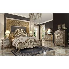 Looking for the perfect Acme Dresden Gold Patina Bone California King Bedroom Set? Please click and view this most popular Acme Dresden Gold Patina Bone California King Bedroom Set. Luxury Bedroom Sets, Master Bedroom Set, Royal Bedroom, Queen Bedroom, Luxurious Bedrooms, Modern Bedroom, Luxury Bedding, Gold Bedroom, Bedroom Wall