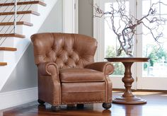 Buy Ethan Allen's Cromwell Leather Recliner or browse other products in Recliners. Leather Furniture, Custom Furniture, Living Room Furniture, Home Furniture, Living Rooms, Leather Recliner, Leather Sofas, Great Rooms, End Tables