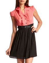 Charlotte Russe ruffle front 2-fer dress