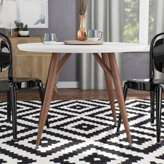 Ebern Designs Atmore Pedestal Dining Table | Wayfair Pedestal Dining Table, Solid Wood Dining Table, Dining Table In Kitchen, Dining Tables, Dining Room, Living Room Furniture, Home Furniture, White Table Top, Round Kitchen
