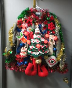 The Best Naughty And Inappropriate Ugly Christmas Sweaters For Dirty Minds Festive Frock Tacky Ugly Christmas Sweater by tackyuglychristmas Ugliest Christmas Sweater Ever, Homemade Ugly Christmas Sweater, Ugly Christmas Sweater Women, Christmas Sweaters, Ugly Sweater, Crochet Christmas Trees, Tacky Christmas, Christmas Crafts, Christmas Games