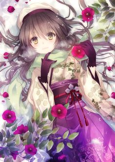 1girl black_hair floral_print flower gloves hat japanese_clothes kimono long_hair long_sleeves looking_at_viewer nozomi_fuuten obi on_back original petals sash scarf solo wide_sleeves yellow_eyes