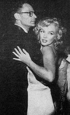 """Marilyn Monroe and Arthur Miller at the premiere after-party for """"The Prince and The Showgirl"""", New York, 1957."""