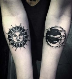Old school style black ink forearm tattoo of sun and moon ...