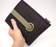 Kindle, e reader, Nook Tablet Wool Felt Case in Anthracite with Elastic and Antigue Gold Eyelet