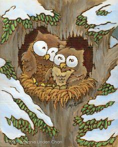 owls by Melanie Linden Chan