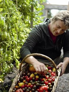 Jamie with his home grown tomatoes...Don't you just want to hug him?