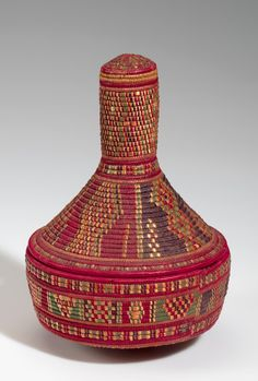 Africa | Basket from Ethiopia; possibly Adari people | Plant fiber and dye | ca. 1967