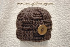 Crochet newborn baby boy hat basketweave checker beanie hat in taupe for newborn baby boy photography photo prop. $26.00, via Etsy.
