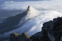 View of fog over the Table Mountain and Lion's Head. Table Mountain, Cape Town, Lions, Places To See, Mount Everest, Beautiful Places, Mountains, World, Nature