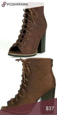 ❤NEW RANSOM Rugged Booties Cold weather won't cramp your fresh style!  Features an open toe and a chunky stacked heel silhouette.  An adjustable lace up front for an easy on and off.  A zipper on the back of the boot for an easy on and off.  Man made materials.   Approximate heel height 4 inches. Shoes Ankle Boots & Booties
