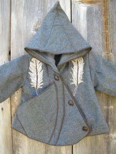 Three Feathers Childs Wool Coat 5T 'earthfriendlies' by greenplow