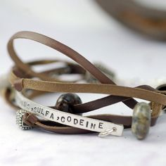 Medical Alert Bracelet Recycled Eco Friendly Sterling Silver Brown Leather Custom Personalized