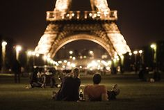evening wine picnic at the eiffel tower.