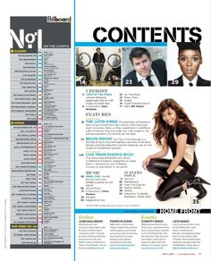 The Billboard contents page is split up into different sections. Magazine Contents, Content Page, Music Magazines, Page Layout, Billboard, Chart, Mood, Album, Songs