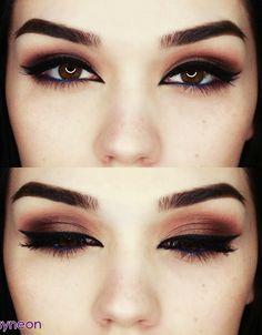 blue eyeliner - dark makeup for brown eyes #eye_makeup