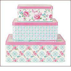 GreenGate Tin Boxes Rectangular Summer White Set 3