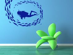 Scuba Diver Swimming with a School of Fish by VinylWallAccents, $34.00