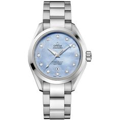 Omega Aqua Terra 150m Master Co-Axial 34mm 231.10.34.20.57.002 Watch ($5,850) ❤ liked on Polyvore featuring jewelry, watches, stainless steel, aqua jewelry, omega jewelry, omega watches, aqua blue jewelry and bezel watches