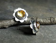 Happy little citrine studs from LavenderCottage on #etsy