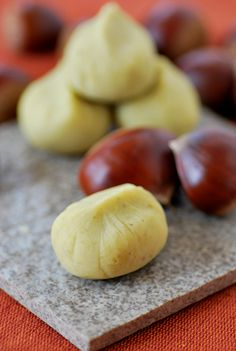 Kurikinton, Wagashi, Japanese sweets for autumn. Sweet chestnut paste.