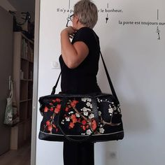 Sac Java noir et tissu japonais cousu par Sylvie - Patron Sacôtin