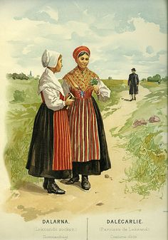 Sommardräkt från Leksands socken, Dalarna, Sverige.  Date1895  SourceThulstrup & Kramer, Afbildningar af Nordiska Drägter (1895)