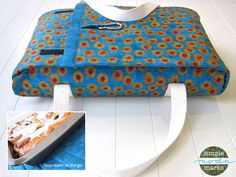 Casserole Carrier Tutorial.  Cute gift with the etched cassarole dish!!  I could embroider or applque a name on it too!