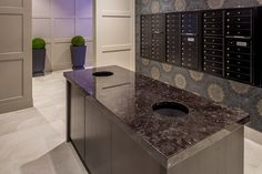 Sustainable Residential Design - The Opus Group Residential Mailboxes, Mail Room, Luxury Modern Homes, Lobby Lounge, Lobby Design, Opus, Living Environment, Corner Bathtub, Architecture Design