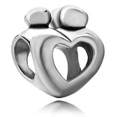 Pugster Mother Child Open Heart Love Bead Fit Pandora Charms Bracelet