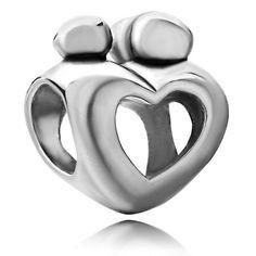 Pugster Mother Child Open Heart Love Bead Fit Pandora Charms Bracelet