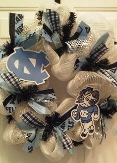 I love these but they are super expensive! Carolina Pride, Carolina Blue, Unc Chapel Hill, Unc Tarheels, Crafts For Kids, Diy Crafts, University Of North Carolina, Tar Heels, Deco Mesh Wreaths