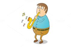 playing saxophone by zetwe shop on Creative Market