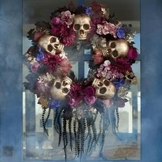 Floral-and-skull Halloween wreath Elegant jewel tones, metallic skulls Indoor/covered outdoor versatility Ready to hang; metal loop at back A Grandin Road exclusive It's the colors and lush texture of our Eerily Enchanted Wreath that lure you in; Spooky Halloween, Halloween Camping, Diy Halloween Decorations, Holidays Halloween, Halloween Crafts, Dollar Tree Halloween Decor, Halloween Ideas, Diy Halloween Wreaths, Halloween Party