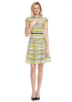 Nine West Stripe Shirt Dress