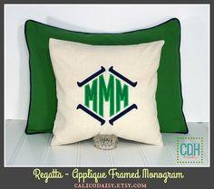 The Regatta Applique Monogram Pillow Cover or Sham  by calicodaisy #boys #chinoiserie