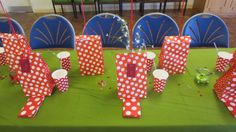 Red polka dot party table. Cups & Napkins from Party Pieces, bags from Ebay