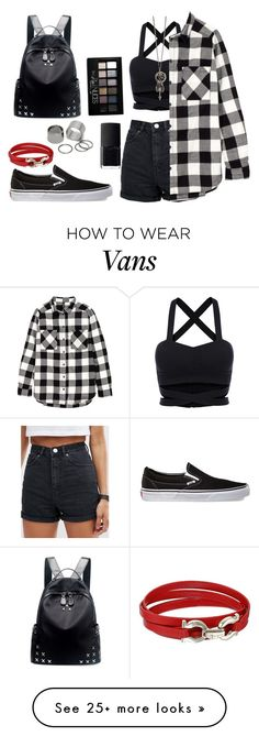 """I"" by anisimova-i on Polyvore featuring ASOS, Pieces, Chicnova Fashion, Vans, NARS Cosmetics, Maybelline and Salvatore Ferragamo"