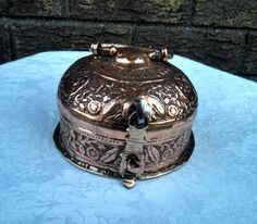 Antique Late 19th Century 14-Piece Hand-Hammered Ornate Indo-Persian Copper Spice Box - FREE SHIPPING by AnchorLineVintage on Etsy