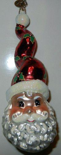 Christopher Radko Swirly Hat Santa St Nick Holly Hat Christmas Ornament | eBay