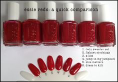 Essie Red Comparison Swatch including Jump In My Jumpsuit from the Jiggle Hi Jiggle Low Winter 2014 Collection. ©imabeautygeek.com
