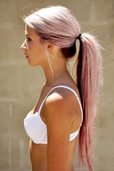 Soo pretty! Blonde with dark underneath and a pink peekaboo highlight