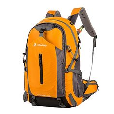 Andway 50 Liters Outdoor Backpack with Rainproof Cover and Adjustable Shoulder Straps for Traveling Camping Hiking Orange ** You can get more details by clicking on the image.