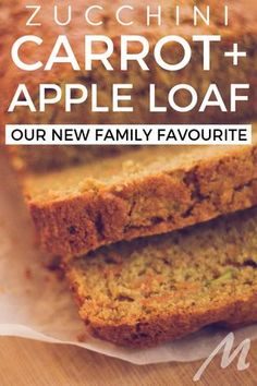 Healthy, fast and easy Zucchini carrot and apple loaf - our new family favourite Loaf Recipes, Carrot Recipes, Baking Recipes, Cake Recipes, Zucchini Loaf, Orange Zucchini Bread Recipe, Carrot Bread Recipe, Carrot Loaf, Apple Bread